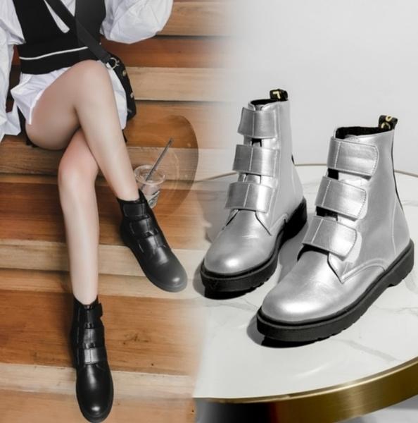 大尺碼女鞋2019新款歐美風龐克魔鬼氈短靴~2色