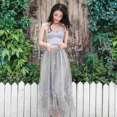 洋裝(兩件套)-細肩帶純色刺繡亮片網紗女裙裝73pu69【巴黎精品】