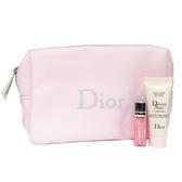 Dior迪奧 小樣旅行組 (豐漾俏唇蜜2ml+超級夢幻美肌萃7ml+限量化妝包)【UR8D】
