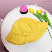 可愛蝴蝶結漁夫帽小黃帽防風繩戶外遮陽帽