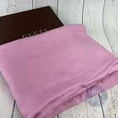 BRAND楓月 GUCCI 古馳 102 粉色GG紋圍巾 披肩 絲巾 70%羊毛 30%蠶絲 小流蘇 配飾 配件 飾品