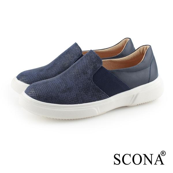 SCONA 蘇格南 全真皮 輕量舒適厚底樂福鞋 藍色 7341-2