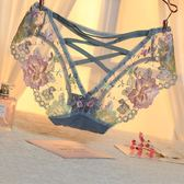 歐美宮廷刺繡性感透明網紗內褲女蕾絲鏤空綁帶火辣少婦誘惑純棉檔 小宅女