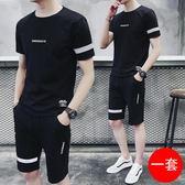 男士運動套裝夏季純棉短袖t恤夏裝韓版潮流休閒兩件套夏天衣服潮
