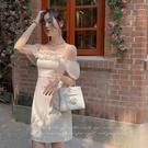 平口洋裝/一字領 白色一字肩吊帶連身裙夏季釘珠生日小禮服裙小個子高級感聚會短裙
