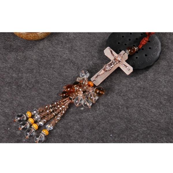 降價兩天 鑲鉆磨砂琉璃汽車掛件紅心十字架耶穌掛飾汽車內飾黃水晶珠串車掛