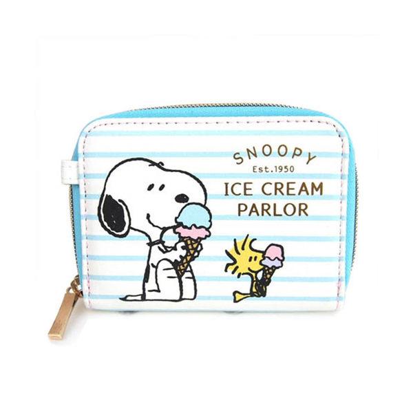 SNOOPY 合成皮革卡片收納包(條紋冰淇淋)★funbox生活用品★SHO-BI_SB04504