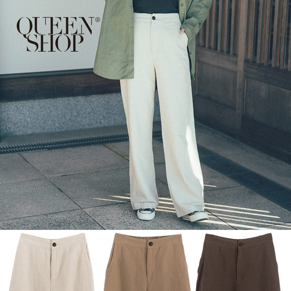 Queen Shop【04110255】基本素面高腰寬褲 三色售 S/M/L*現+預*