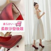 Ann'S燈光焦點-質感磨砂電鍍鞋跟防水台尖頭高跟鞋9.5cm-酒紅