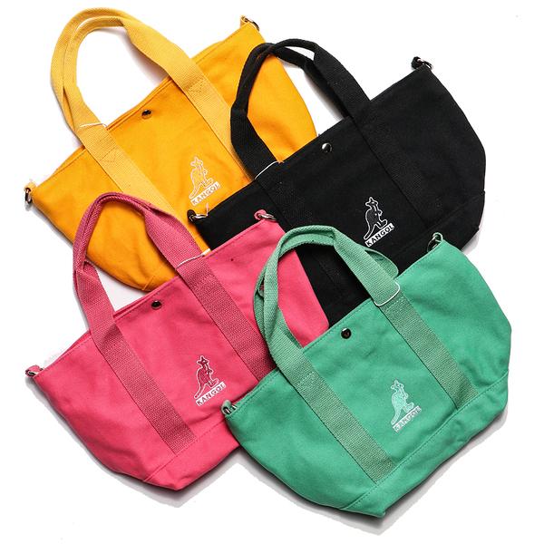 KANGOL 黑 粉紅 黃 蘋果綠 多色 布包 刺繡 側背包 手提袋 托特包 帆布 英國 (布魯克林) 69553005-