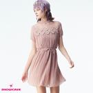 【SHOWCASE】甜美蕾絲圓領透膚紗拼接細褶短版雪紡洋裝(芋紫色)