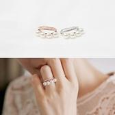 戒指 925純銀 鑲鑽-氣質珍珠生日情人節禮物女開口戒2色73dv22[時尚巴黎]