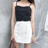 韓版修身顯瘦吊帶小背心純色短款外穿拉鍊打底上衣女學生    琉璃美衣