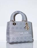 ■專櫃94折■ 全新真品■Dior Lady Dior 中款 Lady D-Lite 包 灰色 Cannage Cannage 藤格紋金屬線刺繡帆布