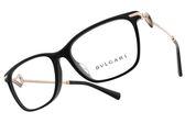BVLGARI 光學眼鏡 BG4166BF 501 (黑-玫瑰金) 方框水鑽設計款 平光鏡框 #金橘眼鏡