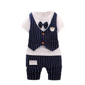 嬰兒短袖套裝 西裝小紳士 假兩件上衣 +短褲 正式 童裝 CK10612 好娃娃