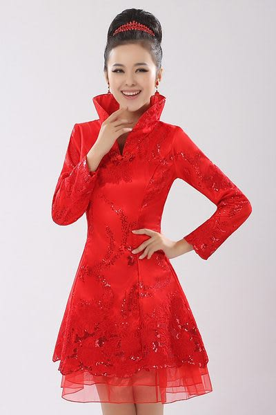 (45 Design定做款)  客製化7天到貨  長袖長款禮服 紅色結婚旗袍 新娘敬酒服秋冬裝