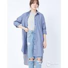 CANTWO異變條紋拼接二穿式襯衫-藍白...