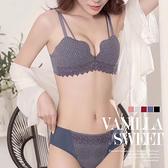 立體棉質編織蕾絲無鋼圈厚墊集中成套內衣組 B罩杯 C罩杯 D罩杯 (附贈內褲) - 香草甜心