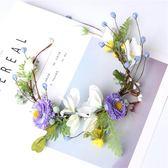 韓式森女系新娘發帶手工頭飾紫色花朵花環頭花發飾結婚禮服配飾品【小梨雜貨鋪】