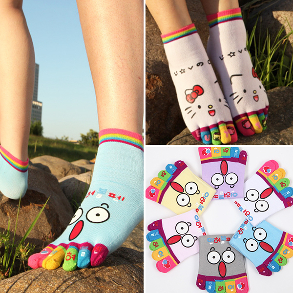 襪子 日系 呆萌表情卡通女用五指襪 繽紛色彩 多色可選 棉質舒適好穿     【FSW092】-收納女王