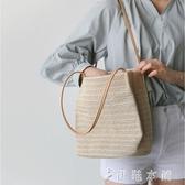 草編包包包女韓版手提草編沙灘包度假大容量簡約編織單肩水桶包 伊鞋本鋪