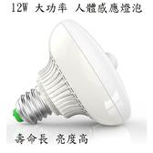 人體紅外線感應 12瓦 LED飛碟球燈泡(E27螺口)