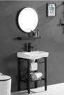 【 麗室衛浴】霧面黑系列D-102-2A 面盆龍頭+臉盆含不鏽鋼支架+方鏡及平檯 衛浴組合套餐