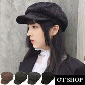 OT SHOP帽子‧復古學院格紋‧八角帽畫家帽毛呢帽‧歐美韓星時尚街頭穿搭配件‧現貨4色‧C5504