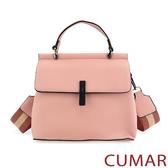 【CUMAR女包】輕奢寬帶兩用斜背包-粉紅色