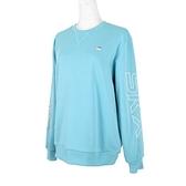 Skechers Logo Crew [L420W057-00RB] 女 長袖 上衣 刷毛 保暖 束口 粉藍