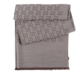 【GUCCI】GG Logo 羊毛披肩/圍巾(石墨灰/咖啡色) 165903 3G646 1264