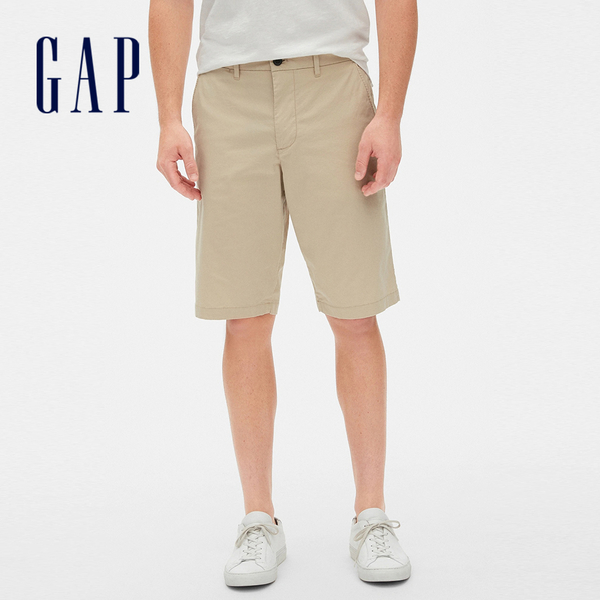 Gap男裝 舒適純色休閒短褲 472166-沙灘卡其色