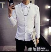 春季長袖襯衫男士韓版修身型青少年百搭白色休閒襯衣潮男裝寸衫男『快速出貨』