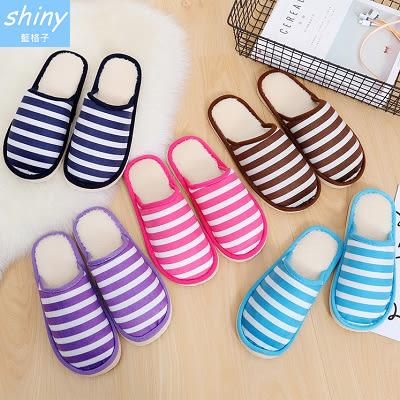 【X026】shiny藍格子-條紋配色.冬季保暖男女情侶毛絨室內居家橫條拖鞋
