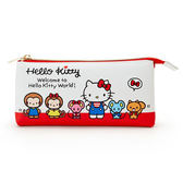 Sanrio HELLO KITTY塑膠皮革3口袋扁型收納包(好朋友)★funbox★_45442