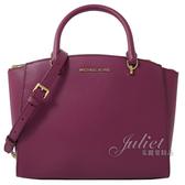茱麗葉精品【全新現貨】MICHAEL KORS ELLIS LG 手提兩用托特包.紫紅色