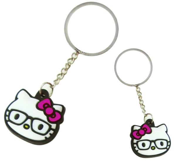 【卡漫城】 Hello Kitty 鑰匙圈 眼鏡 二入組 ㊣版 掛飾 凱蒂貓 金屬 吊飾 收藏 矽膠