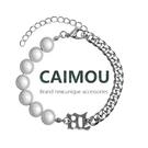 珍珠手鏈 CAIMOU 反光珍珠鈦鋼手鏈男女ins小眾設計感閨蜜手飾情侶簡約手串