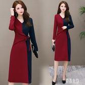 長袖洋裝 新款大碼胖mm修身顯瘦遮肚連身裙減齡洋氣休閒打底裙 XN5729【優品良鋪】