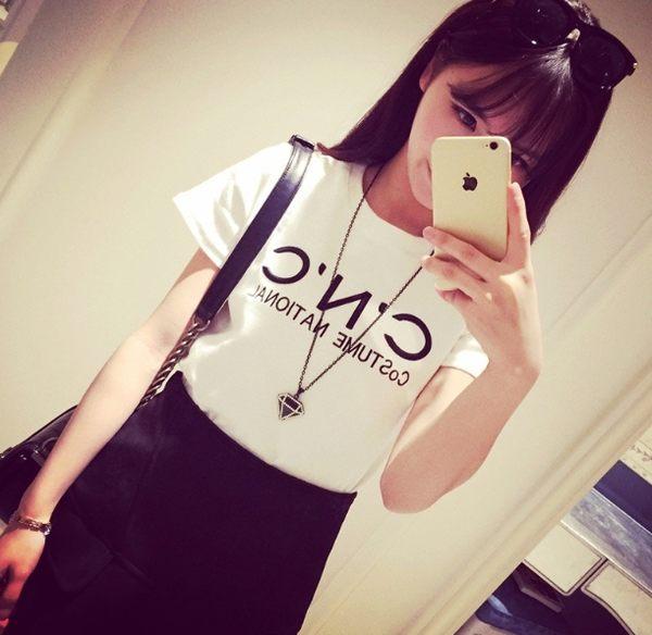 夏裝韓國女裝t桖字母印花大碼寬鬆韓版學生短袖t恤女半袖上衣