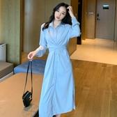 襯衫洋裝 秋裝2020年新款女法式顯瘦長袖襯衫連身裙洋氣質時尚A字裙子 艾維朵