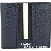 BALLY TRASAI 經典黑白條紋深藍色八卡對折短夾 1820592-34