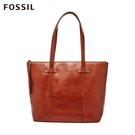 FOSSIL Felicity 真皮拉鍊托特包-咖啡色 SHB1981210