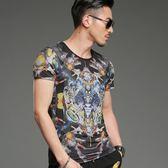 短袖T恤男 韓版休閒上衣 潮流 歐美風純棉科技科幻短袖印花T恤男圓領夏季體恤衫wx3529
