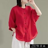 襯衫 夏裝大碼寬鬆氣質亞麻襯衫女純色休閒顯瘦燈籠袖襯衣薄款棉麻【雙十一狂歡】