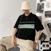 POLO衫短袖T恤寬松休閒翻領體恤上衣半袖男【左岸男裝】