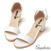 訂製鞋 簡約一字繫踝中跟涼鞋-艾莉莎ALISA【09B607】白色下單區
