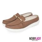 女鞋 穆勒鞋 張飛鞋 拖鞋 MIT台灣製 真皮鞋 質感馬銜釦磁力厚底氣墊球囊鞋(焦糖棕)諾蕾蒂Normlady