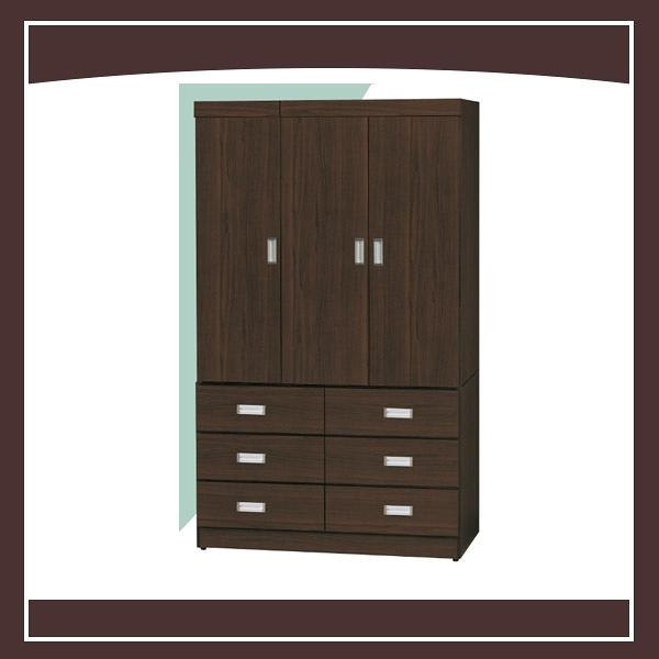 【多瓦娜】胡桃色4X7尺衣櫥(門後鏡) 21152-407001